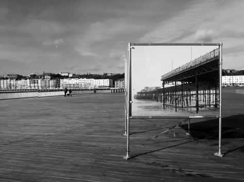 Simon Roberts' image of a devastated Hastings Pier on display on the restored Hastings Pier - (C) Jon Smalldon 2016, all rights reserved